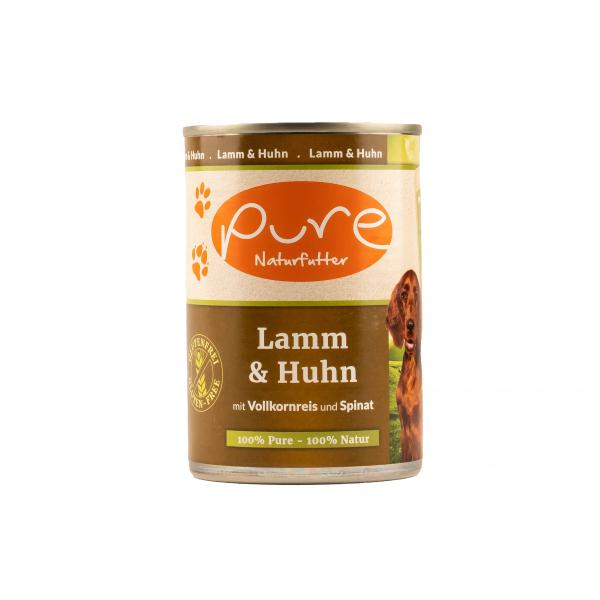 Hundemenü Lamm & Huhn mit Vollkornreis und Spinat 400g