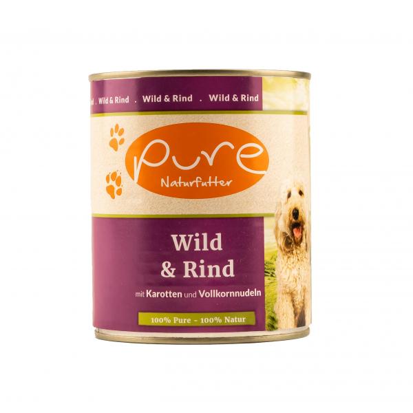 Hundemenü Wild & Rind mit Karotten und Vollkornnudeln 800g