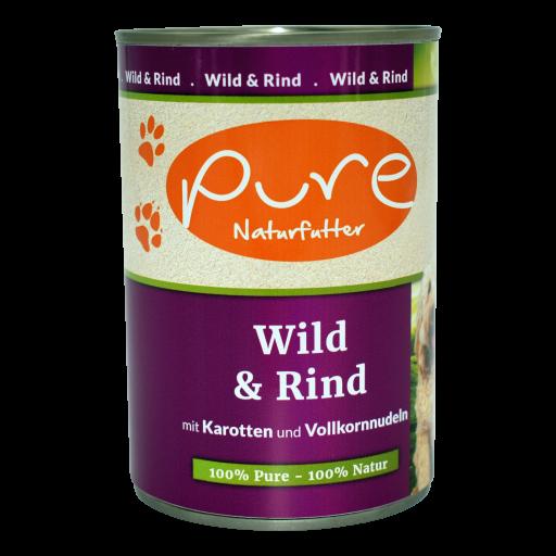 Hundemenü Classic Wild & Rind mit Karotten und Vollkornnudeln 400g