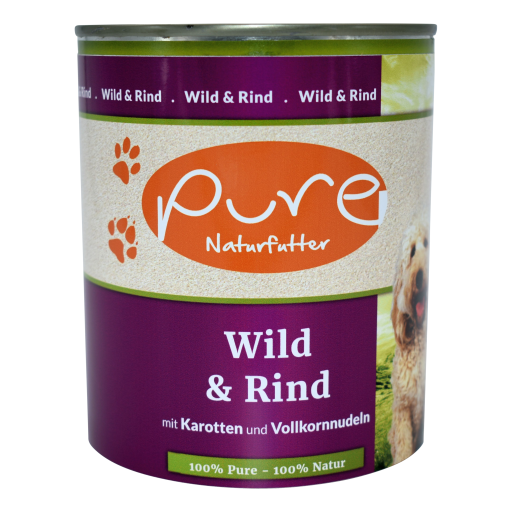 Hundemenü Classic Wild & Rind mit Karotten und Vollkornnudeln 800g
