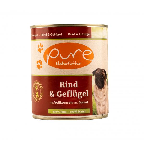 Hundemenü Rind & Geflügel mit Vollkornreis und Spinat 800g